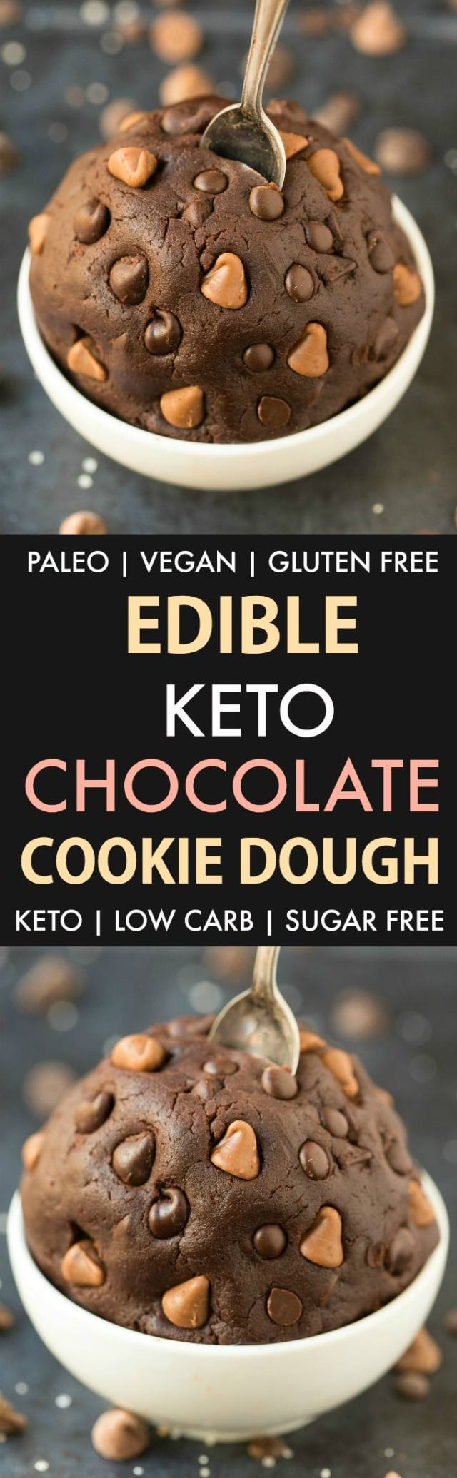 Edible Low Carb Keto Chocolate Cookie Dough in a collage