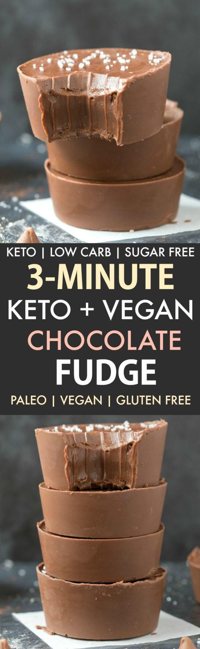 3-Minute Paleo Vegan Chocolate Fudge (Keto, Low Carb, Sugar Free)- An easy 3-ingredient recipe for smooth, creamy and fool-proof chocolate keto fat bomb fudge made with no dairy, no sugar, no condensed milk. #ketorecipe #fatbombs #dairyfree #paleo #vegan #keto | Recipe on thebigmansworld.com