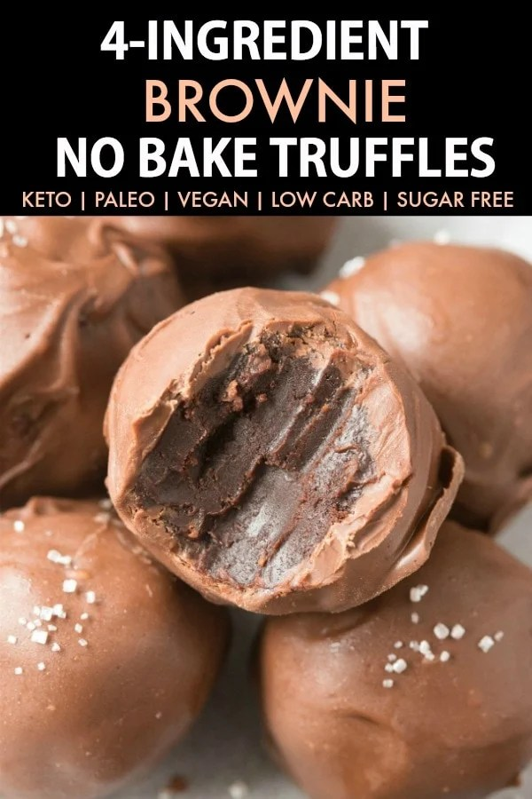4 Ingredient Brownie No Bake Truffles with a bite mark taken out of it.