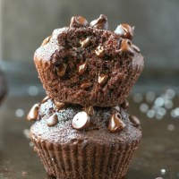 Easy Flourless Gluten Free Vegan Blender Chocolate Muffins with an internal shot showing the fluffy texture