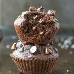 Easy Flourless Gluten Free Vegan Blender Chocolate Muffins with an internal shot showing the fluffy texture