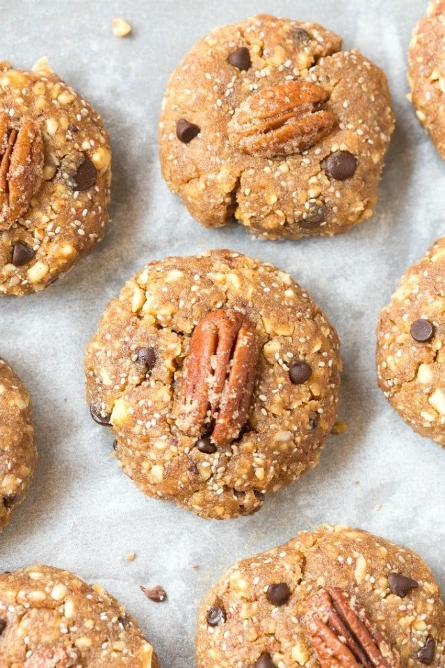 No Bake Pecan Pie Cookies topped with sugar free candied pecans