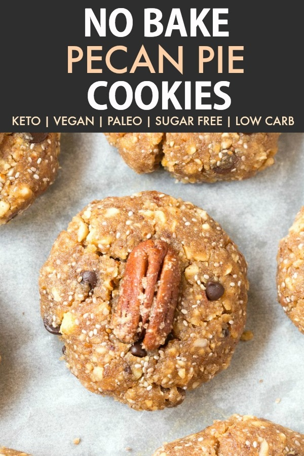 No Bake Pecan Pie Cookie topped with a candied pecan and mini chocolate chips