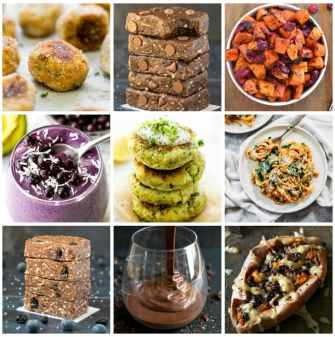 A square collage of 9 vegan and paleo whole30 approved foods and recipes, including smoothies, larabars, sweet potato noodles, zucchini fritters and baked potatoes
