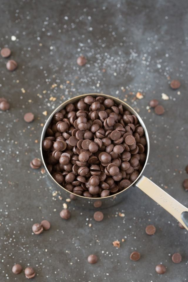 A measuring cup of chocolate chips.