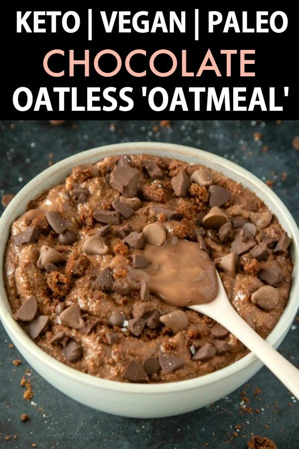 A bowl of keto and low carb chocolate oatless oatmeal.