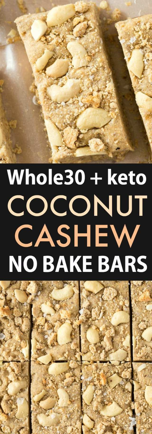 A collage of coconut cashew no bake bars