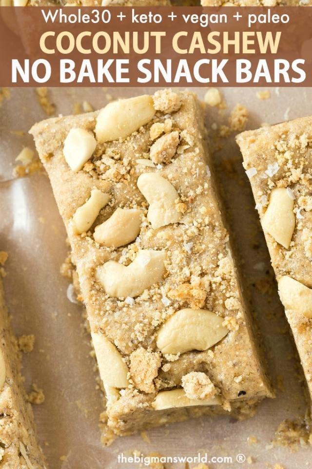A keto and whole 30 approved coconut cashew no bake snack bar
