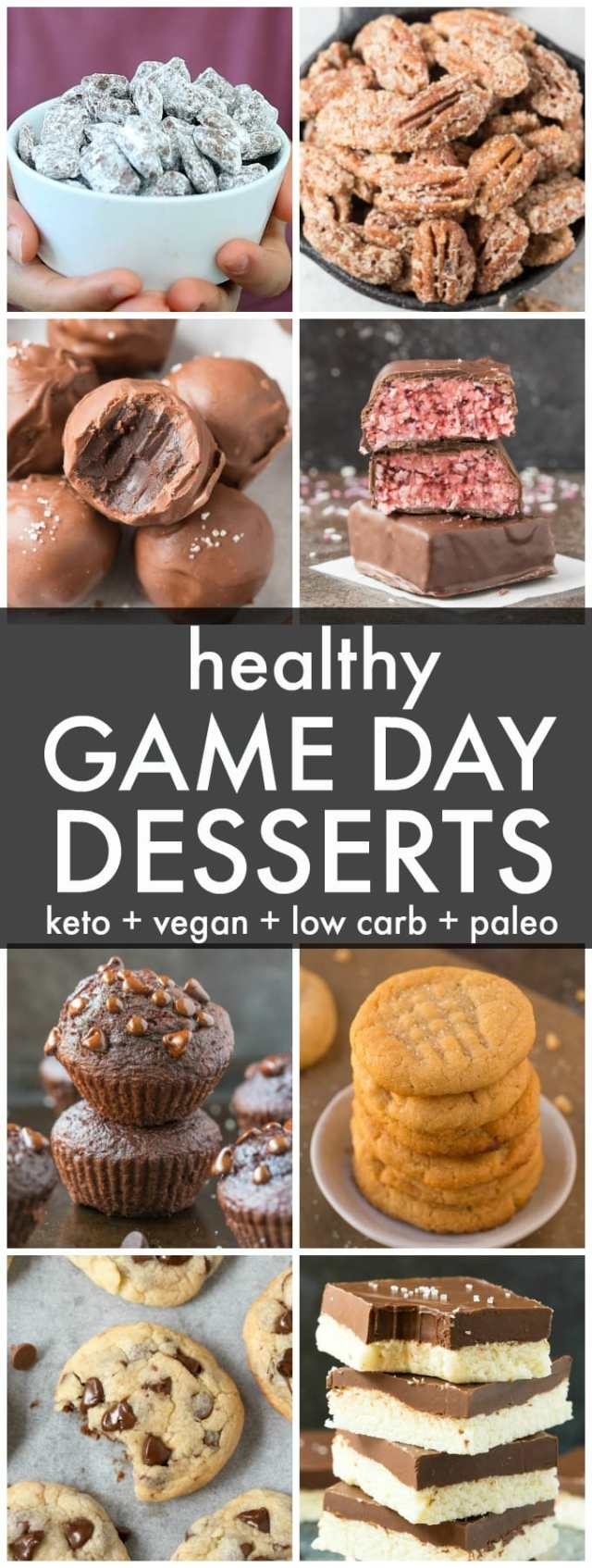 A collage of healthy keto and vegan game day and super bowl dessert recipes