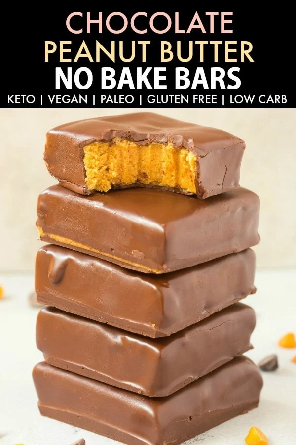 A stack of chocolate peanut butter no bake bars, with the top one half eaten. The text on top says Keto Chocolate Peanut Butter No Bake Bars.