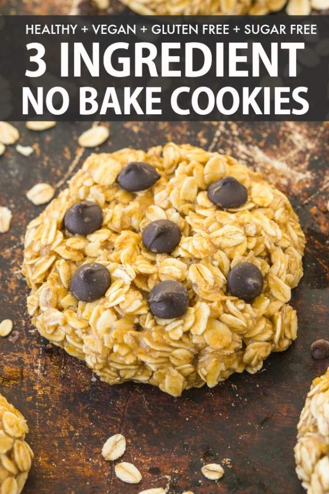 Easy 3-ingredient no bake oatmeal cookies with chocolate chips