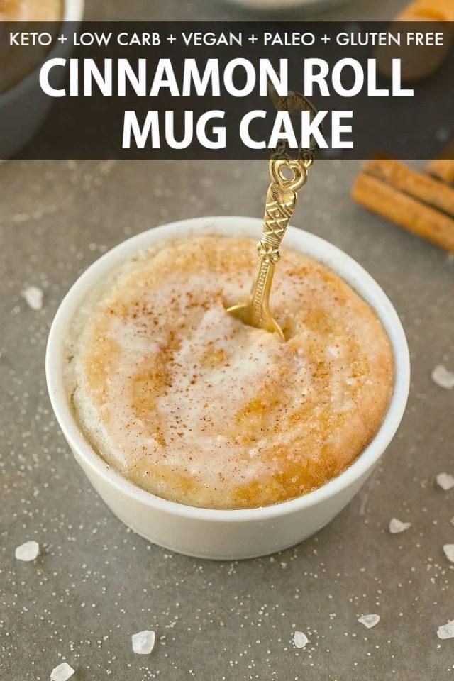 A keto cinnamon roll mug cake