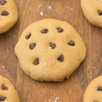 Easy keto no bake cookies topped with chocolate chips