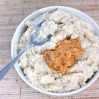 thick and creamy overnight oatmeal with peanut butter