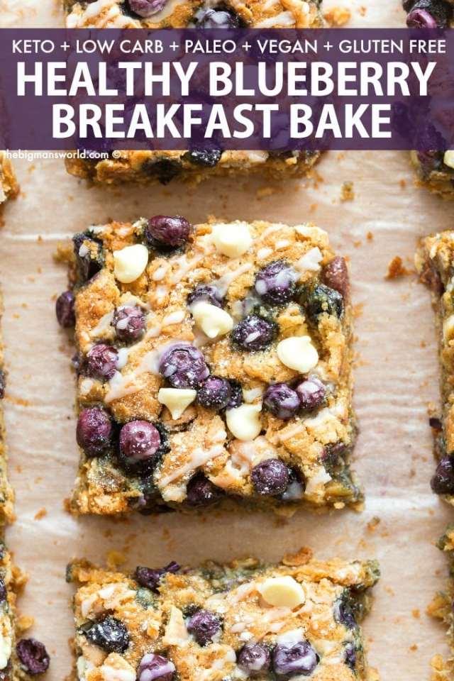 Easy paleo blueberry breakfast bake made with oatmeal and banana!