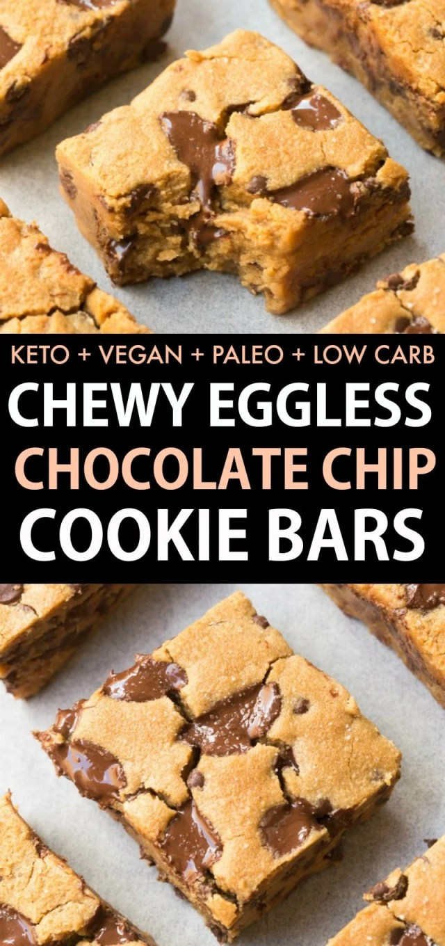 Thick and chewy chocolate chip cookie bars made healthy! NO dairy and NO eggs, it's keto, paleo, vegan and low carb!