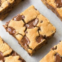 Easy flourless chocolate chip cookie bars made without peanut butter, without eggs and like delicious cookie dough! Paleo, keto and vegan!