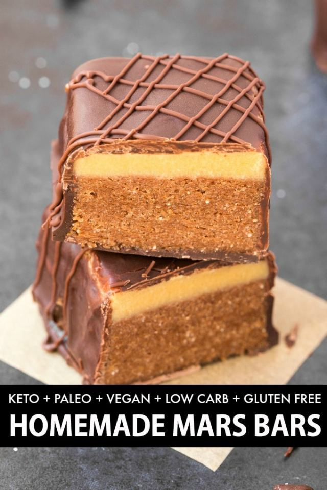 Homemade Mars Bars with a paleo and vegan nougat and a keto chocolate coating