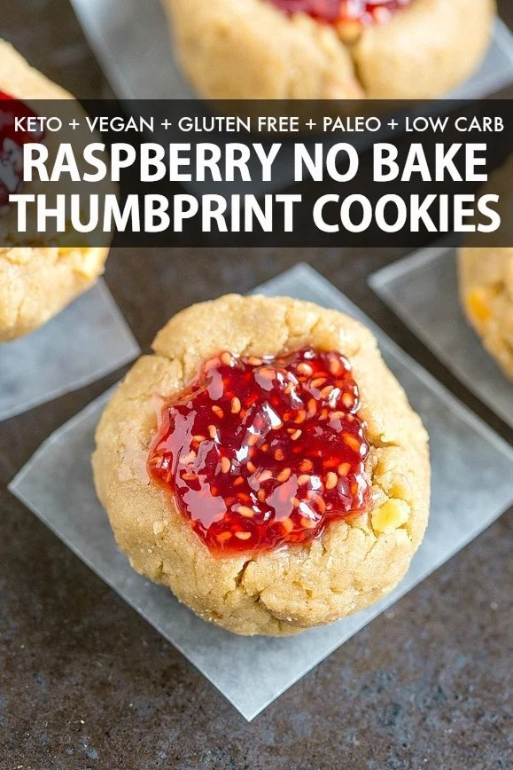 Healthy Vegan Thumbprint Cookie Recipe that is also no bake, keto and low carb! Soft, chewy and filled with raspberry or strawberry jam!