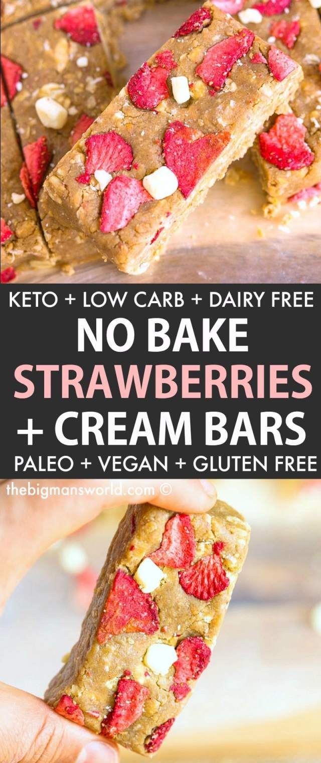 Homemade No Bake Strawberries and Cream Bars that taste like a strawberry shortcake