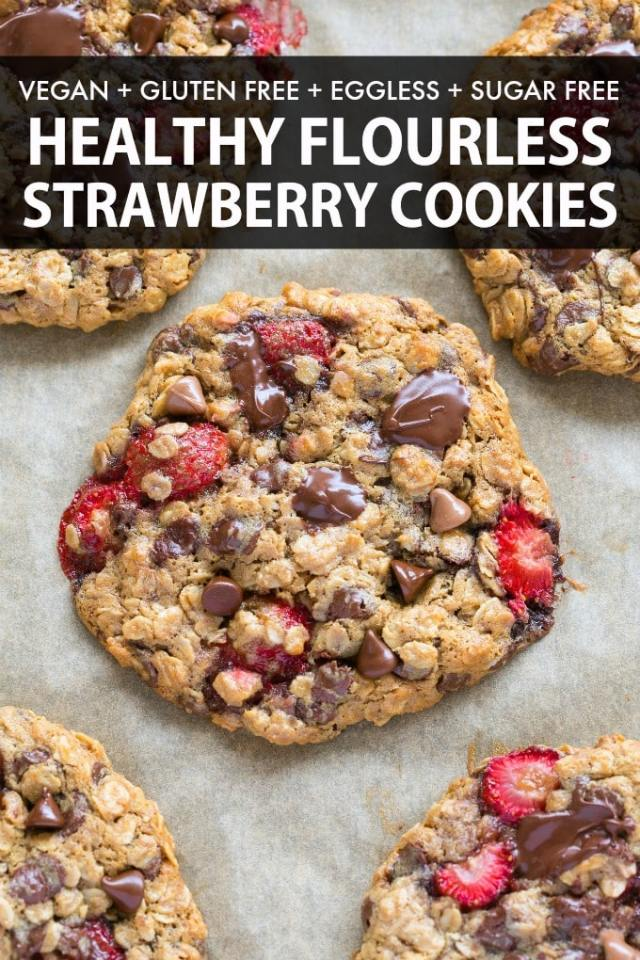 Strawberry cookies made with fresh strawberries and chocolate chips and perfect for a vegan and gluten free diet