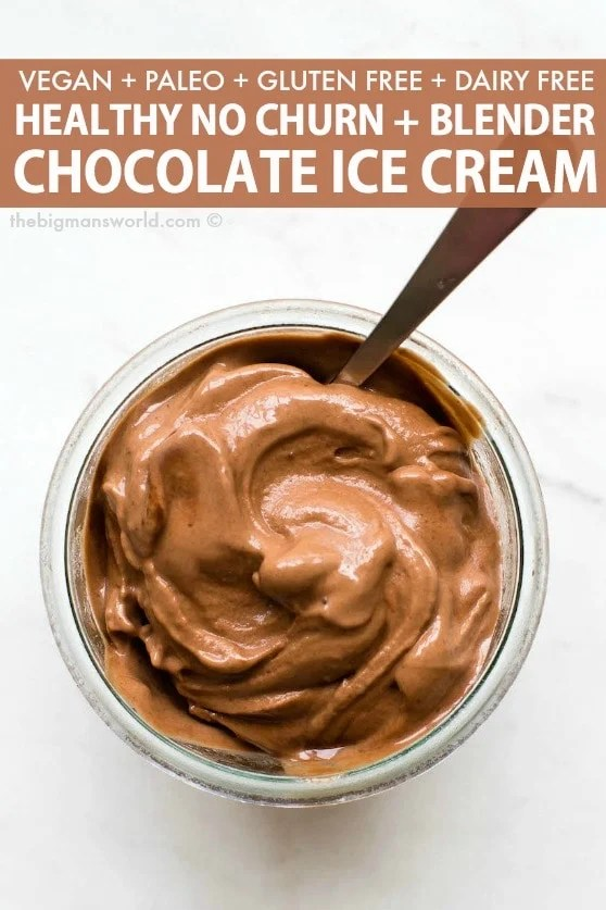 Easy chocolate banana ice cream made with peanut butter and cocoa powder.