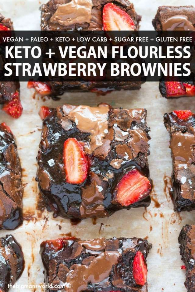 Healthy Chocolate Strawberry Brownies are flourless, low carb and sugar free dessert! No eggs, no butter and no oil needed!