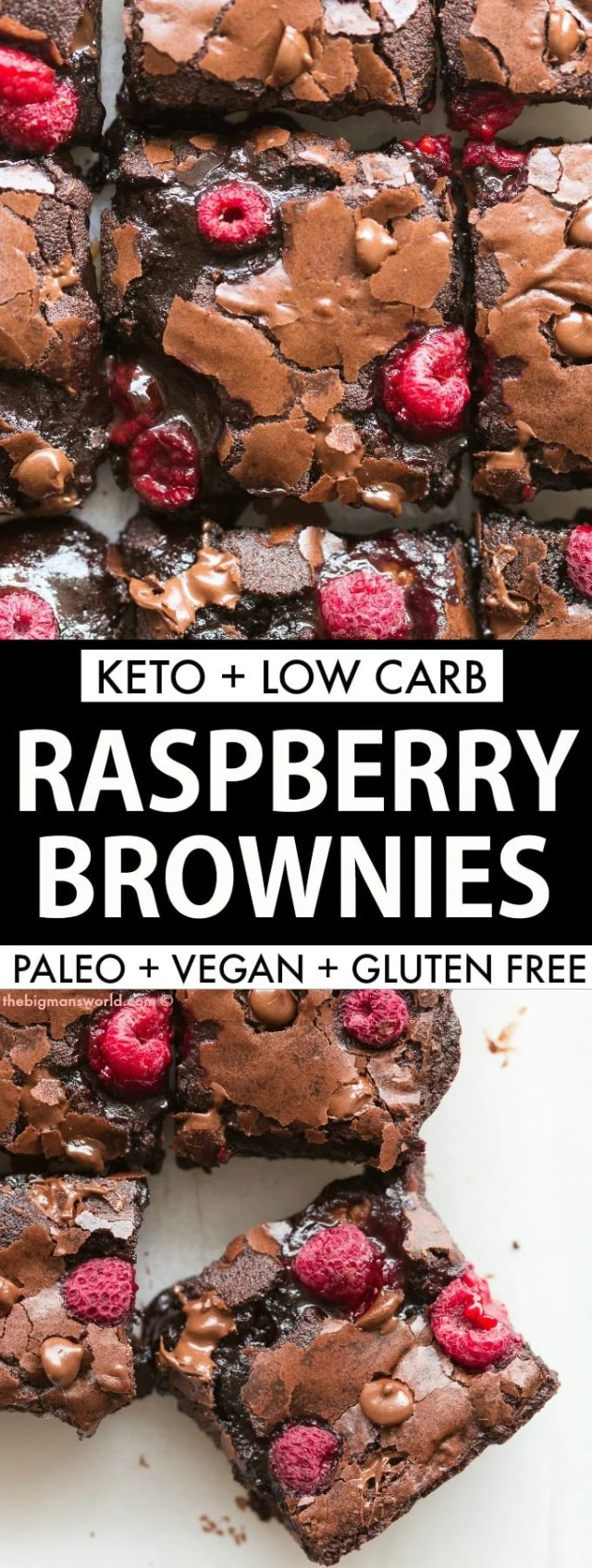 Keto Chocolate Raspberry Brownies that are vegan, gluten free and paleo! Gooey and fudgy.