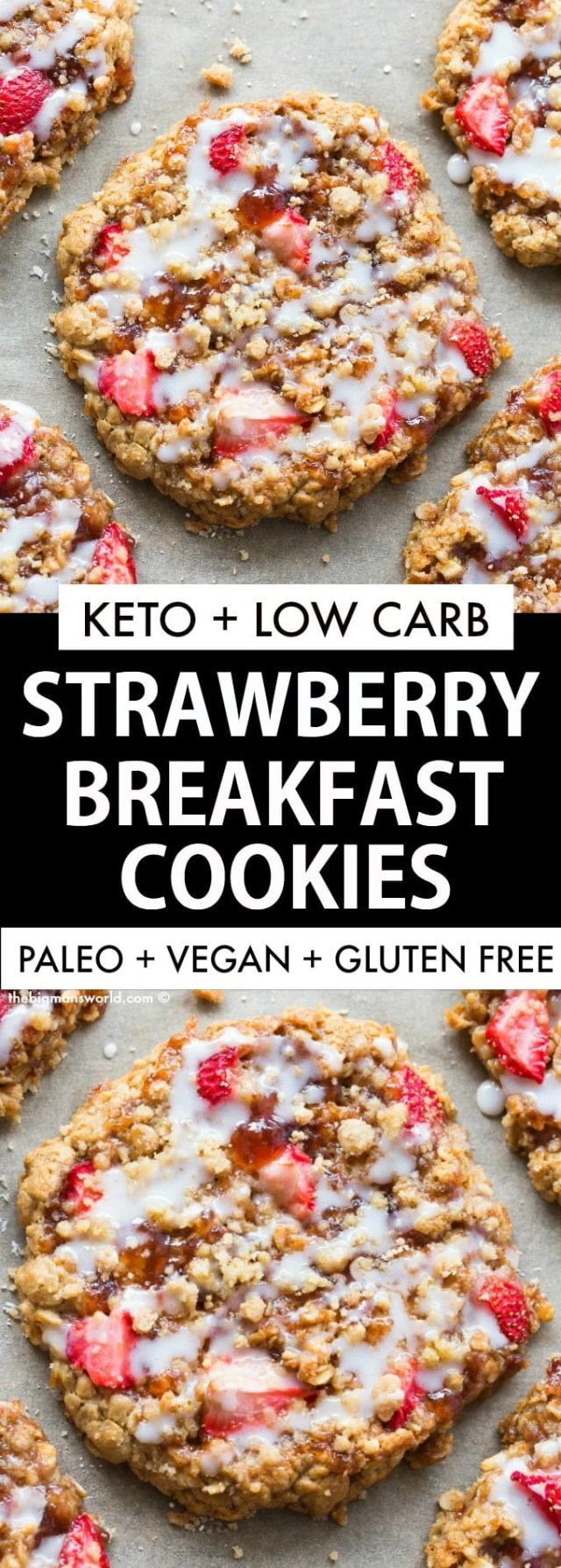 Healthy Strawberry Breakfast Cookie recipe made with wholesome ingredients and NO sugar!
