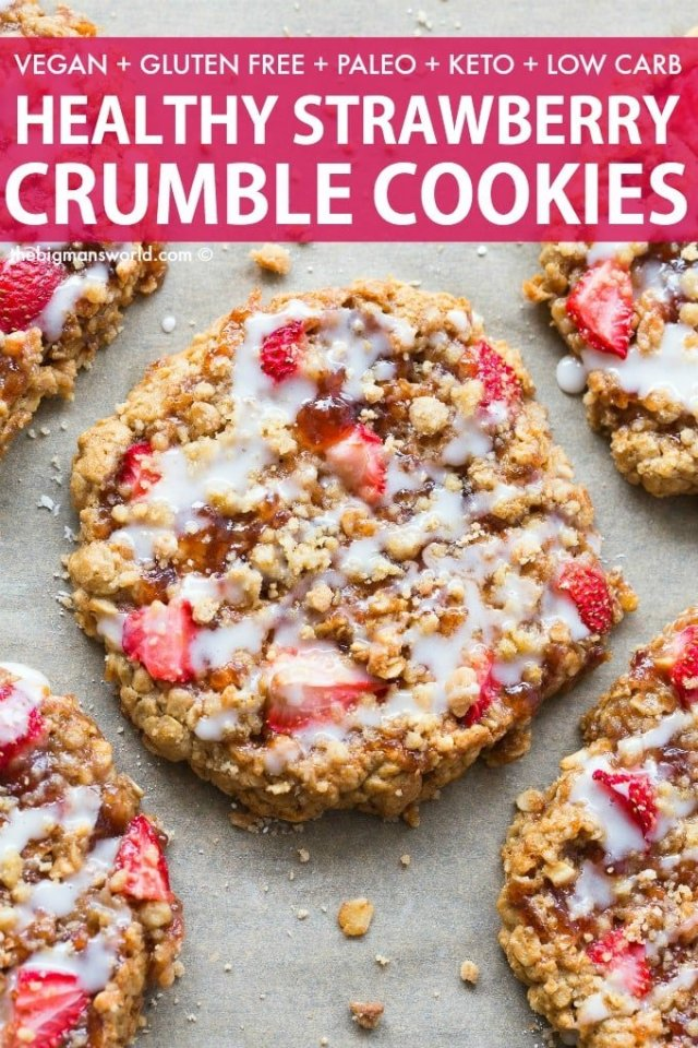 Vegan Gluten Free Strawberry Crumble Bar Cookies recipe- perfect for breakfast or dessert!