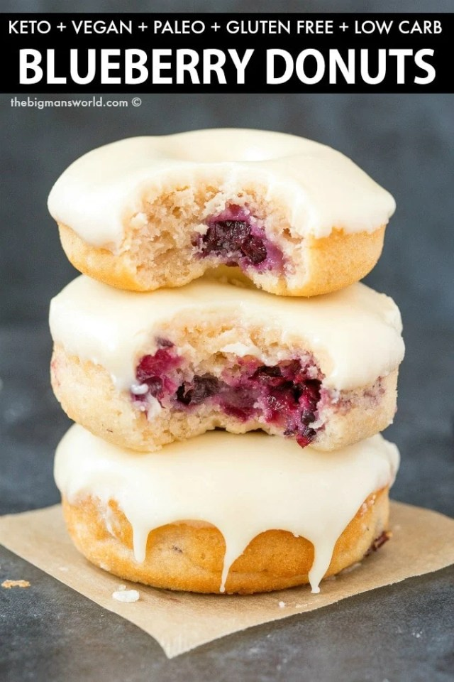 Gluten Free Vegan Blueberry Donuts (Paleo, Keto Option)