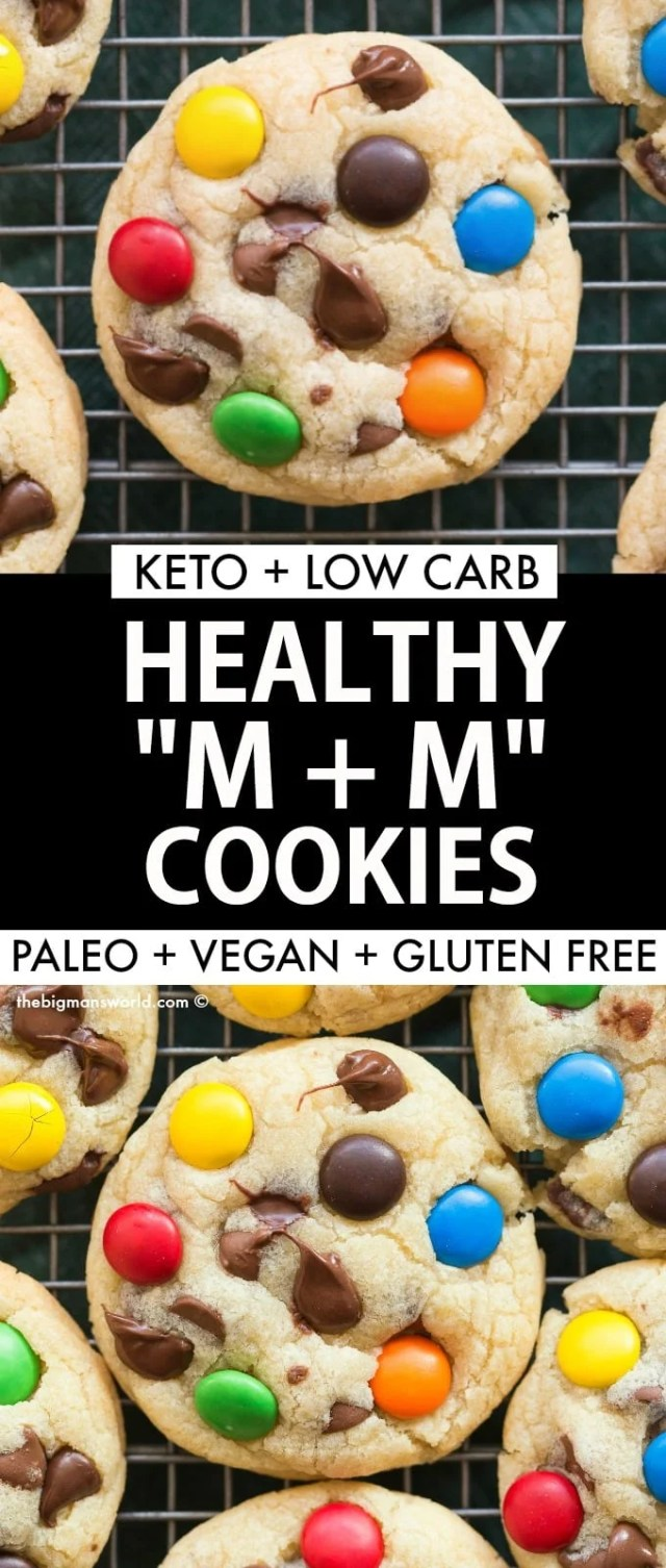 Healthy M and M Cookies recipe made low carb, keto and sugar free!