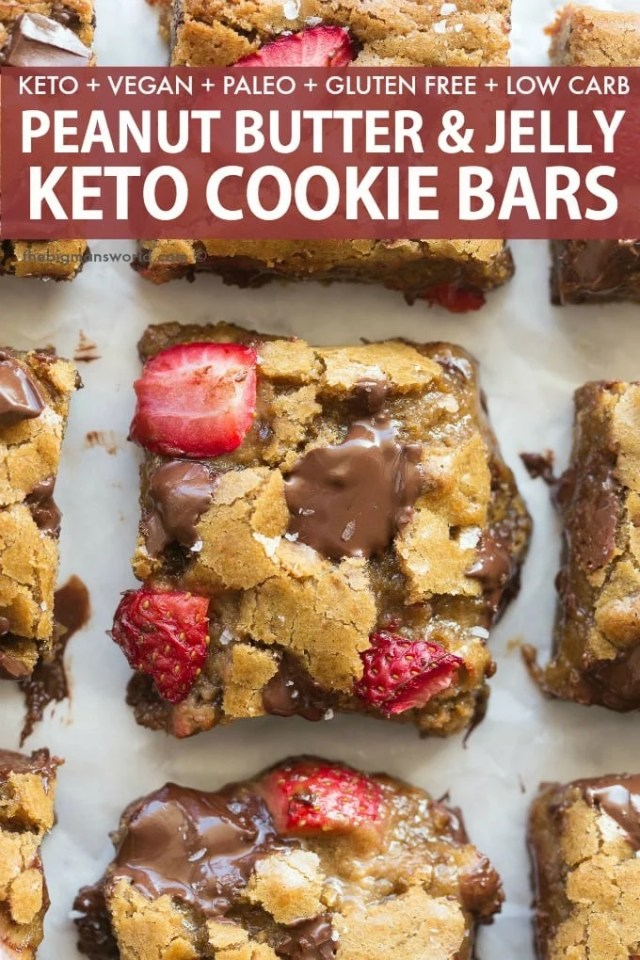 Easy Keto and Low Carb Peanut Butter Jelly Cookie Bars recipe