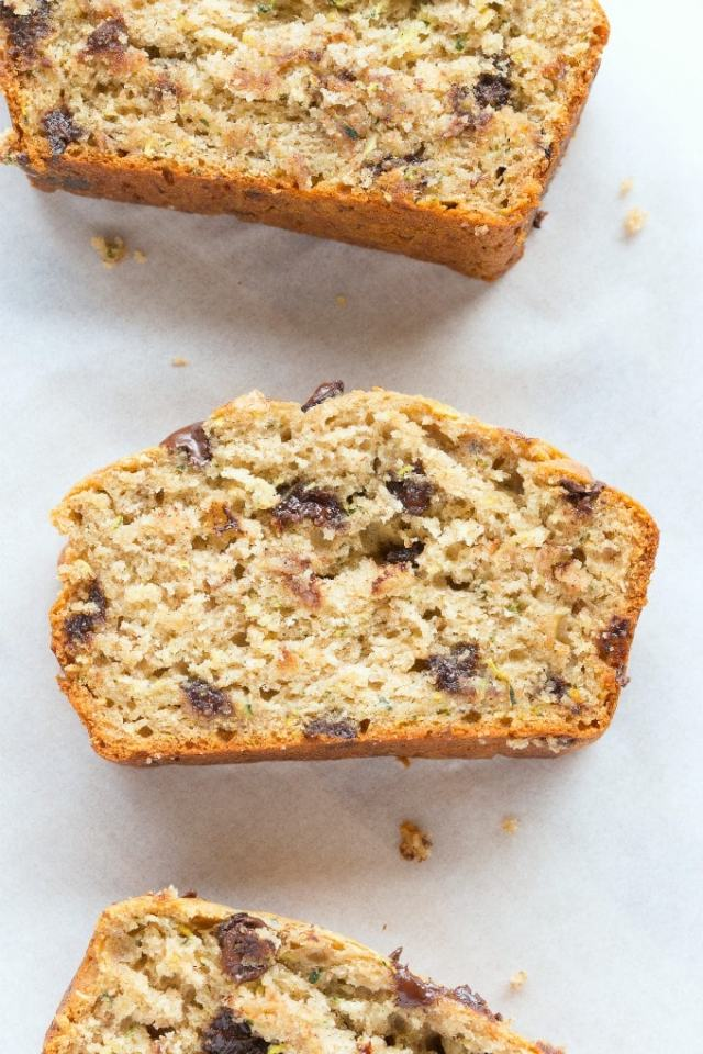 Healthy chocolate chip zucchini bread recipe- Vegan, gluten free, paleo