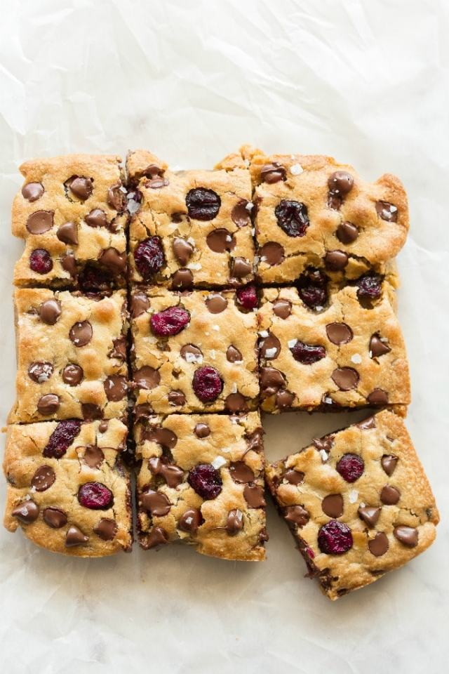 keto blondies with cranberries and chocolate chips
