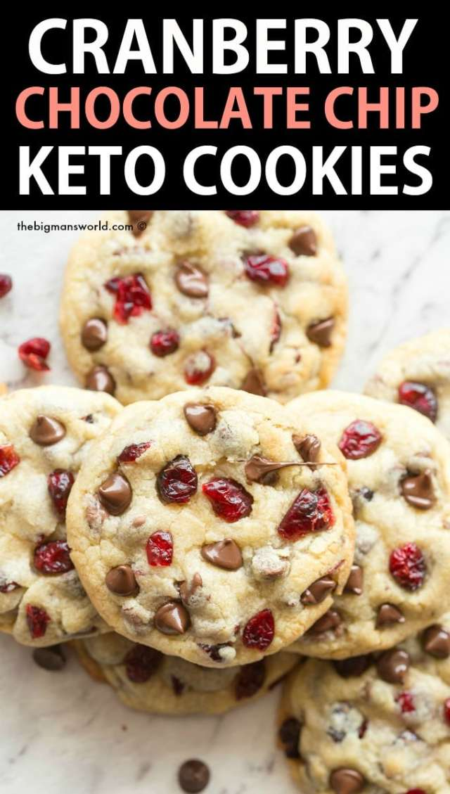 Keto Cranberry Cookies with chocolate chips