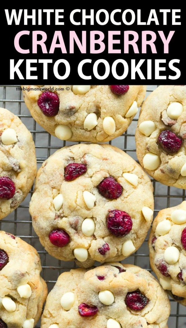 Keto White Chocolate Chip Cranberry Cookies Recipe