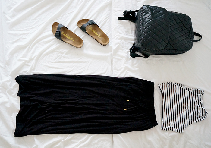 Festival look black maxi skirt striped crop top birkenstock madrid matte black forever21 backpack
