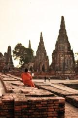 Ayutthaya Thailand Temple Monk Ancient Ruins