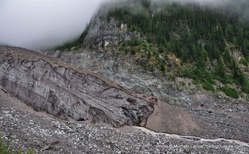 The Carbon River emerging from the Carbon Glacier in Mount Rainier National Park.