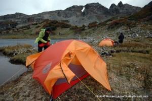 Windy camp in Lagunas Chevallay.