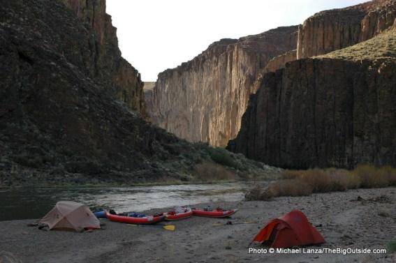 Campsite on the East Fork Owyhee River, in eastern Oregon.