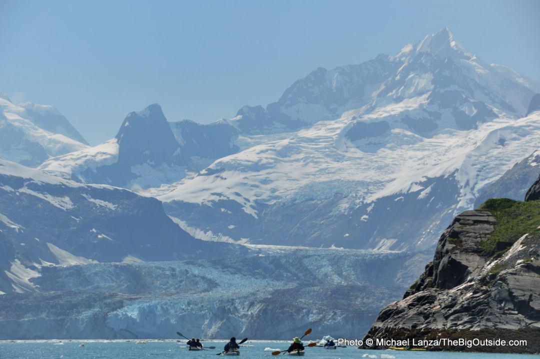 Sea kayakers in Alaska's Glacier Bay National Park.