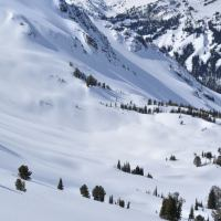Skiing off the back side of Clipper Gap, above Norway Basin in Oregon's Wallowa Mountains.