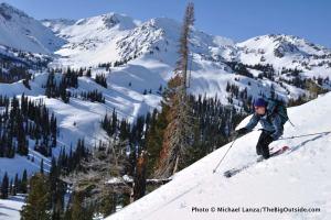 Skiing off Big Ridge above Norway Basin, in Oregon's Wallowa Mountains.