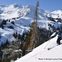 Skiing off Big Ridge above Norway Basin, in Oregon's Wallowa Mountains.