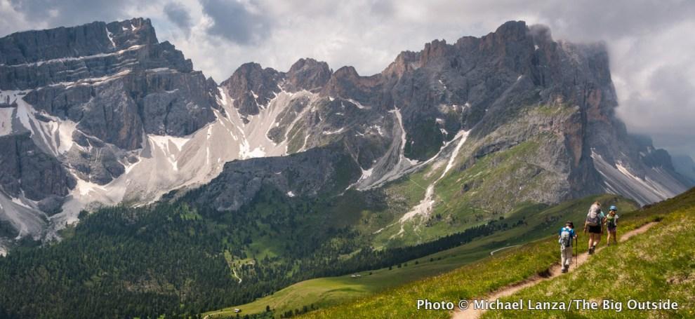 Trekking the Alta Via 2, Dolomite Mountains, Italy.