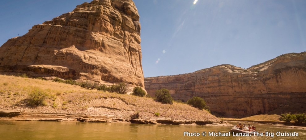 Rafting through Echo Park in Whirlpool Canyon, Dinosaur National Monument.