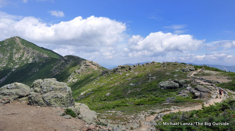Hiking Franconia Ridge during a 32-mile dayhike of the Pemi Loop, White Mountains, N.H.