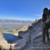 Chip Roser above Bench Lakes, Sawtooth Mountains.